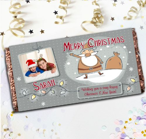 Personalised Santa Merry Christmas Milk Chocolate Bar - Xmas Eve Stocking Filler Gift N22